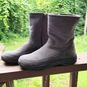 Ll bean grey suede boots 8